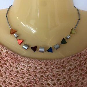 Jewelry - Boho Bead & Animal Print Triangle Stone Choker